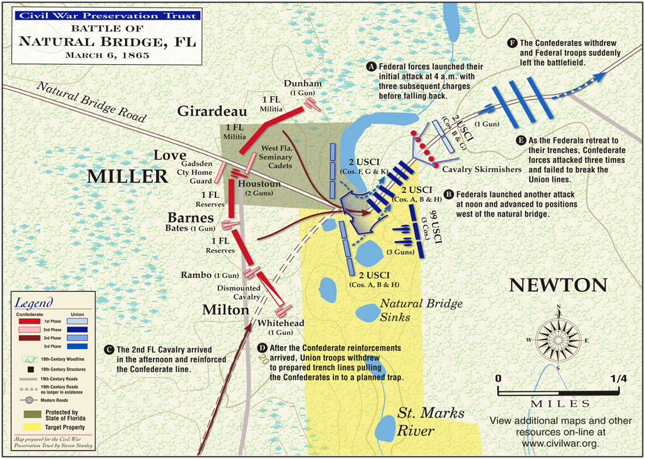 Federal troops initially pushed Rebel forces back but proved unable to take the bridge and retreated.