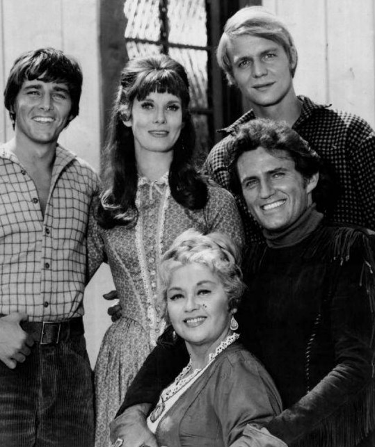 Actors Bobby Sherman, Bridget Hanley, David Soul, Robert Brown, and Joan Blondell from the comedy Western Here Come the Brides. The series loosely depicts the Mercer Girls' journey to Seattle and aired from September 25, 1968 to April 3, 1970.