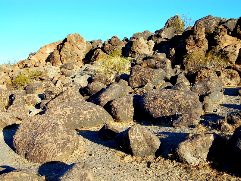 Eastern outcropping of painted rocks