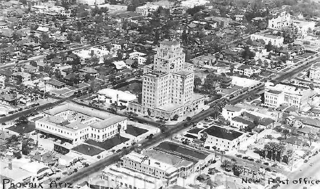 1940s aerial shot of hotel