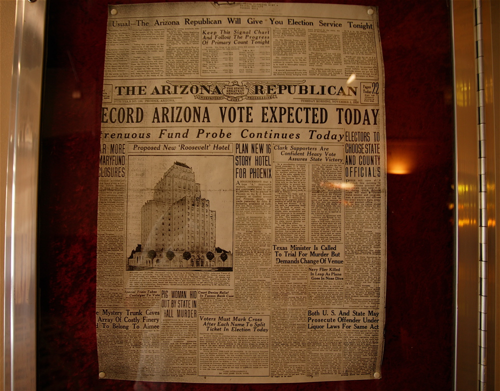 Preserved copy of 1928 Arizona Republic, with proposed Roosevelt Hotel (later changed to Hotel Westward Ho) picture and article.