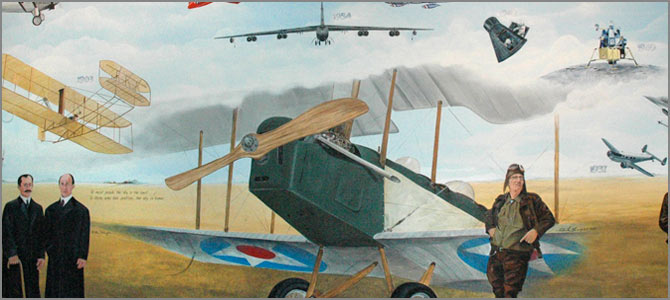 The Century of Aviation mural features pioneering North Dakota aviator Charlie Klessig in the center.