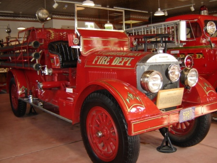 One of the restored fire trucks. Visitors are allowed to sit in one of them.