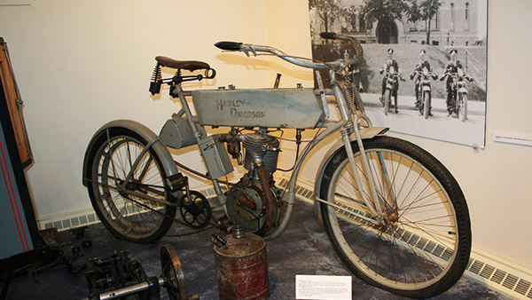 The museum also houses a vintage Harley Davidson motocycle