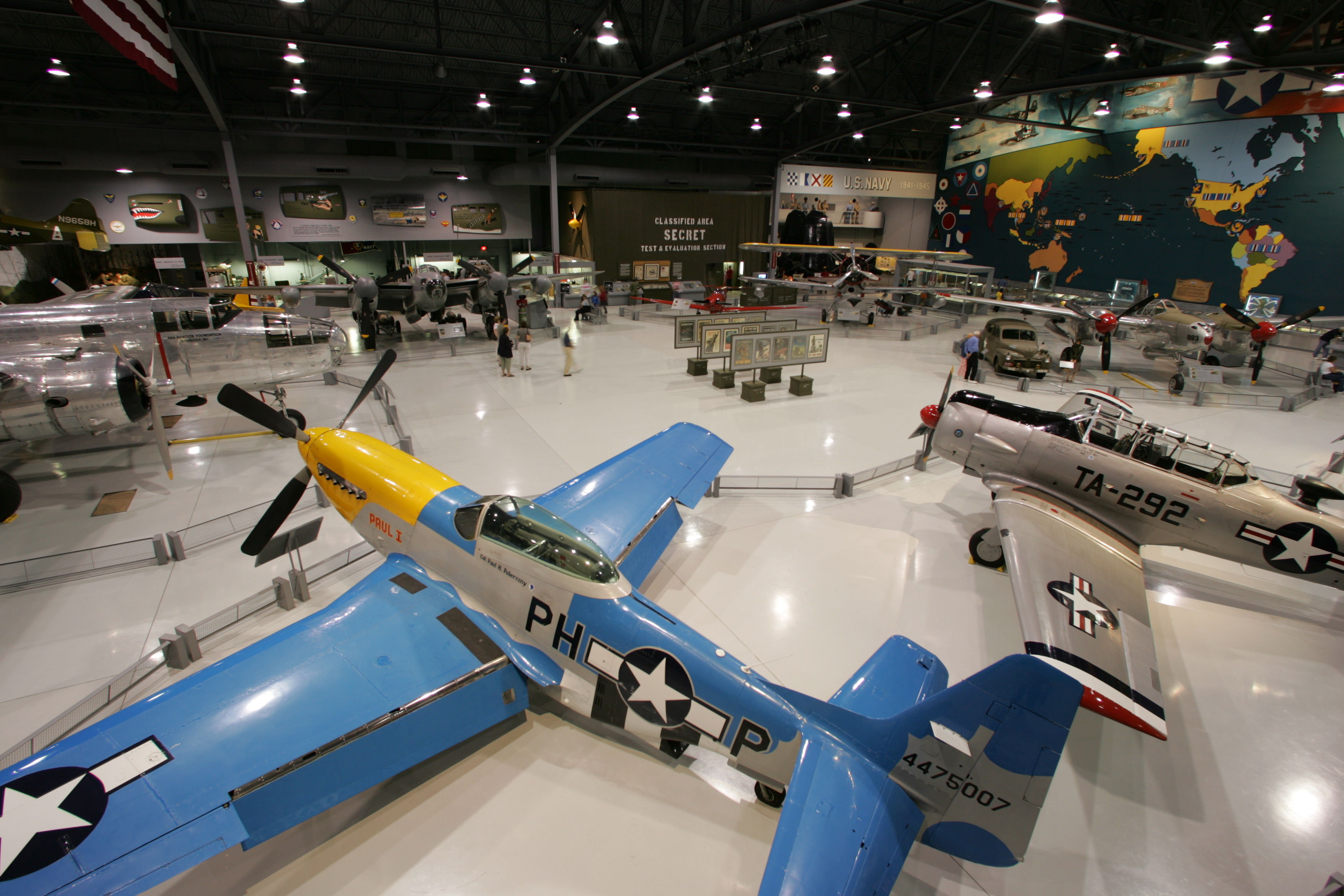 The Eagle Hangar where vintage World War II aircraft are on display.
