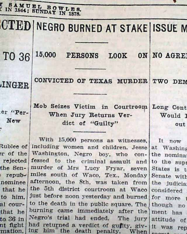 Newspaper describing the lynching
