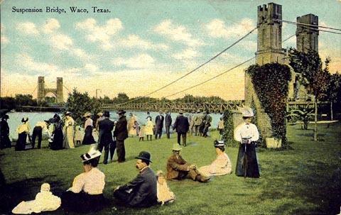 Waco Suspension Bridge in 1912