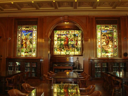 Stained glass windows inside of the library
