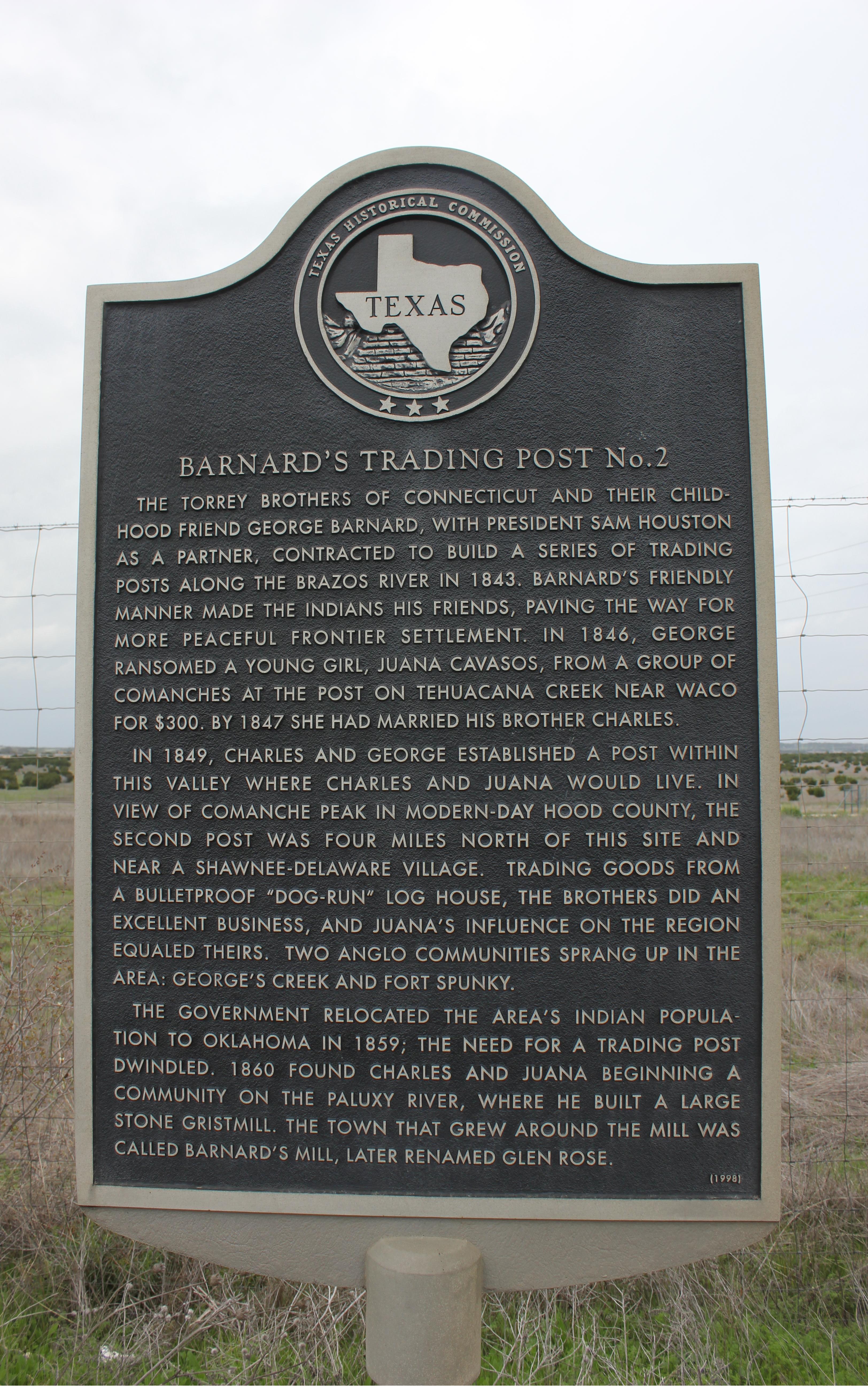 Barnard's Trading Post Marker