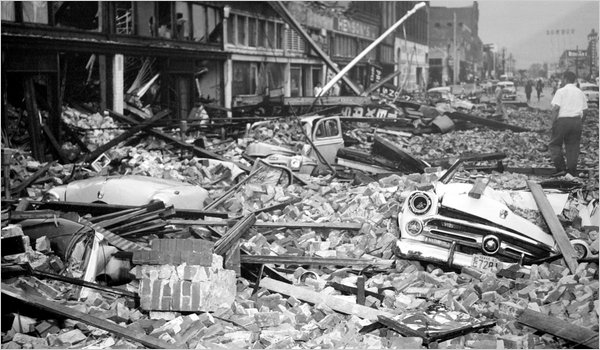 Devastation along Franklin Street