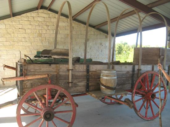 An original wagon used on the Chisholm Trail, one of many authentic items on display in this outdoor museum.