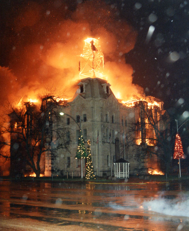 A massive fire on New Year's Day destroyed the interior and tower in 1993.