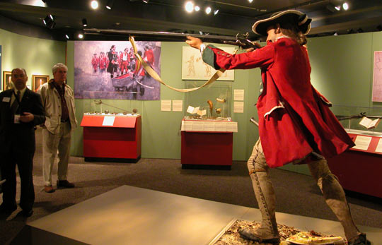 Life-size model of a British soldier of the French and Indian War. The colonial conflict was actually part of the larger Seven Years' War, considered by some scholars to be the first true global conflict.