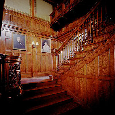 Grand staircase in mansion