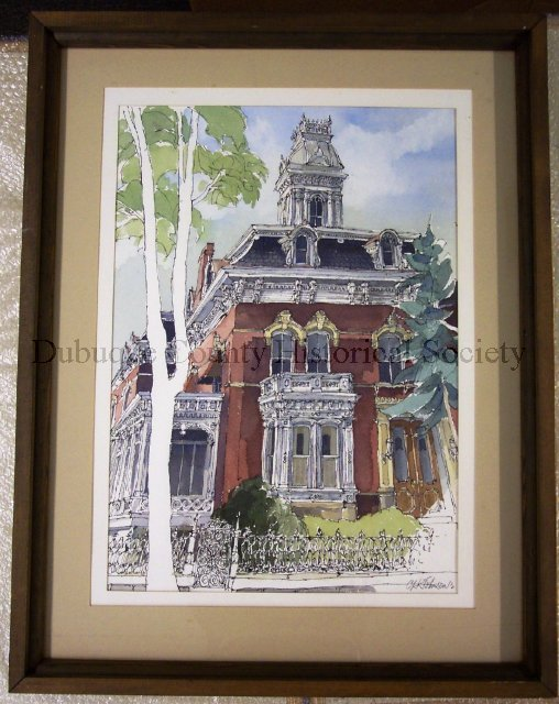 Framed watercolor painting of the Ryan House painted by Carl Johnson.