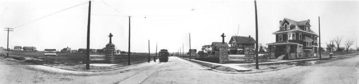 1912 panoramic photo of 23rd St. entrance to Breezedale, facing south, streetcar on Mass. St. (KSHS)