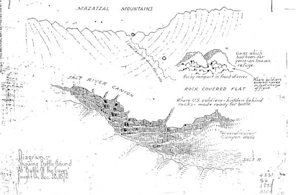 hand drawn map of Salt River Canyon and Skeleton cave