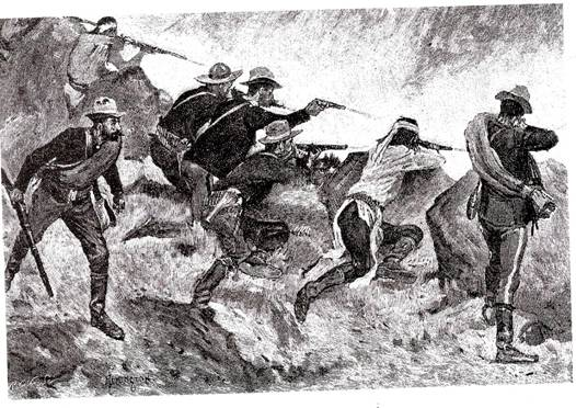 "Soldiers firing down at the cave. Sketch, ""Ross's Attack"" by Frederic Remington, for Century Magazine, March, 1891."