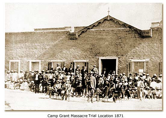 Photo taken during 1871 court case of those involved in massacre. Taken in front of original Tuscon courthouse.