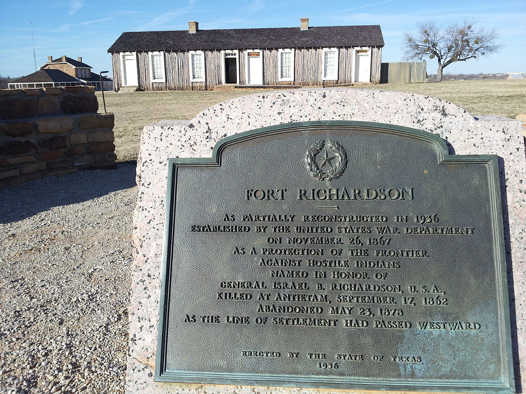"""Fort Richardson Texas Historical Marker"" by Pi3.124. Licensed under Public Domain via Wikimedia Commons - https://commons.wikimedia.org/wiki/File:Fort_Richardson_Texas_Historical_Marker.jpg#/media/File:Fort_Richardson_Texas_Historical_Marker.jpg"