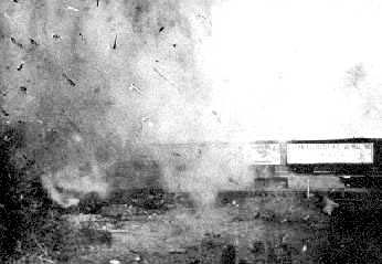 The explosion as the trains collided