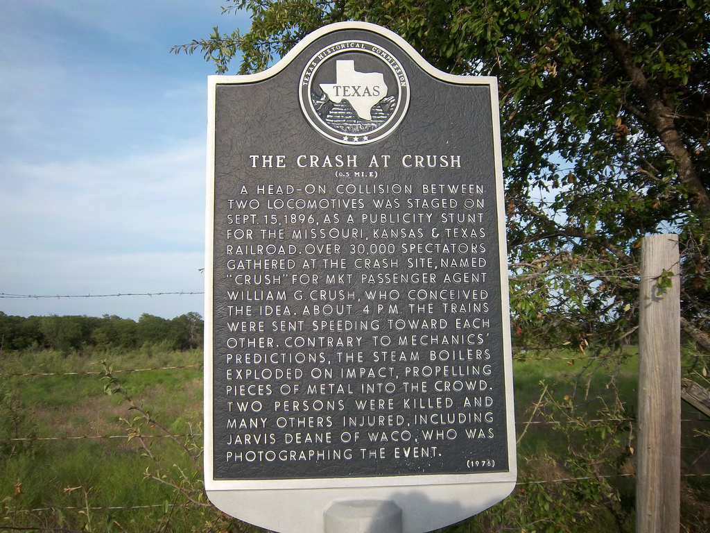This Historical Marker was originally located at the scene of the crash but was moved to the railroad depot so that more people might see it.