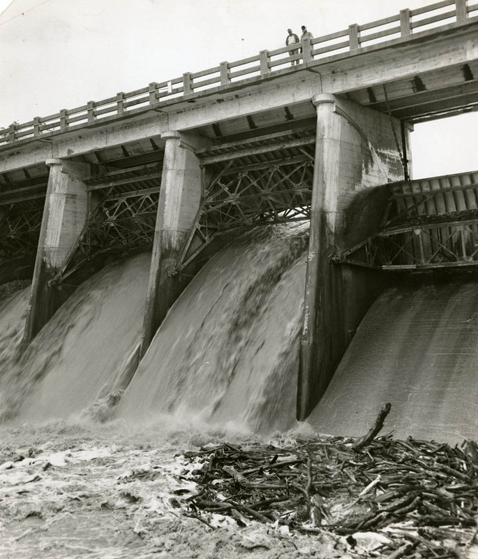Part of the original dam, clogged with debris and unable to support city needs