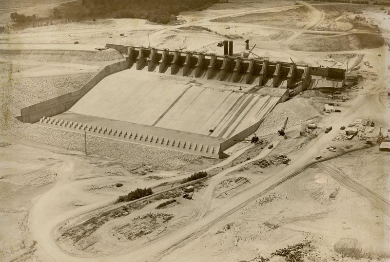 Waco Dam nearing completion in 1961