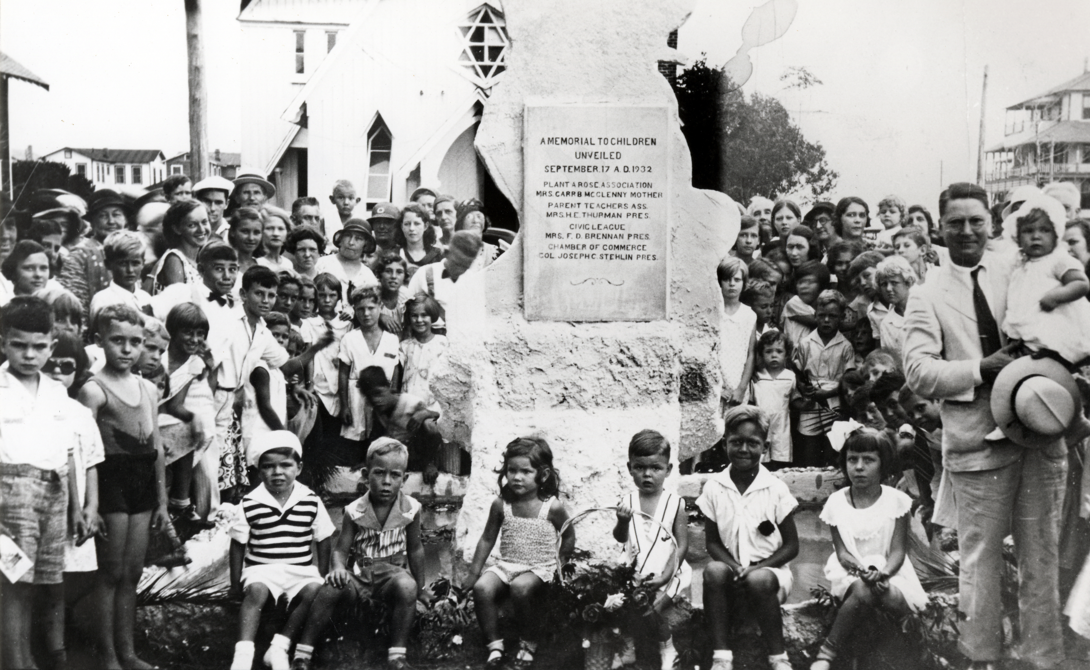 Dedication on September 17, 1932 in its original location. Colonel Stehlin is holding a baby in the foreground.