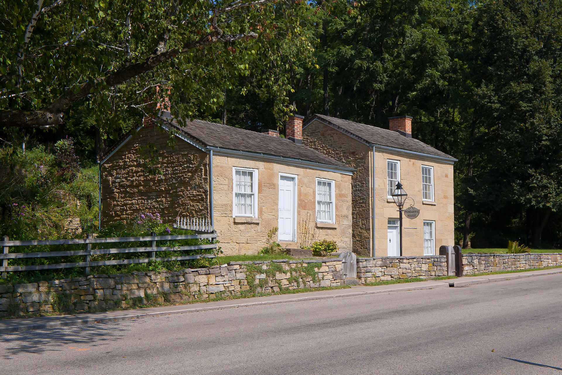 Built ca. 1835, the Pendarvis House is on the left. The one on the right is called the Trewlany House.