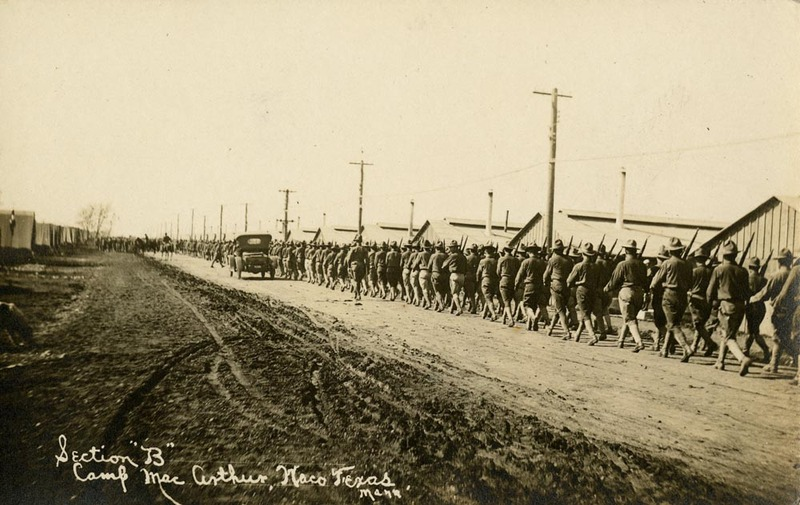 Soldiers marching at Camp MacArthur