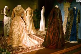 Exhibit of dresses from the 1850s.
