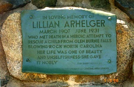 Plaque at the Lillian Arhelger Memorial