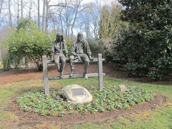 """On the Fence"" Sculpture at Tanger Family Bicentennial Garden."