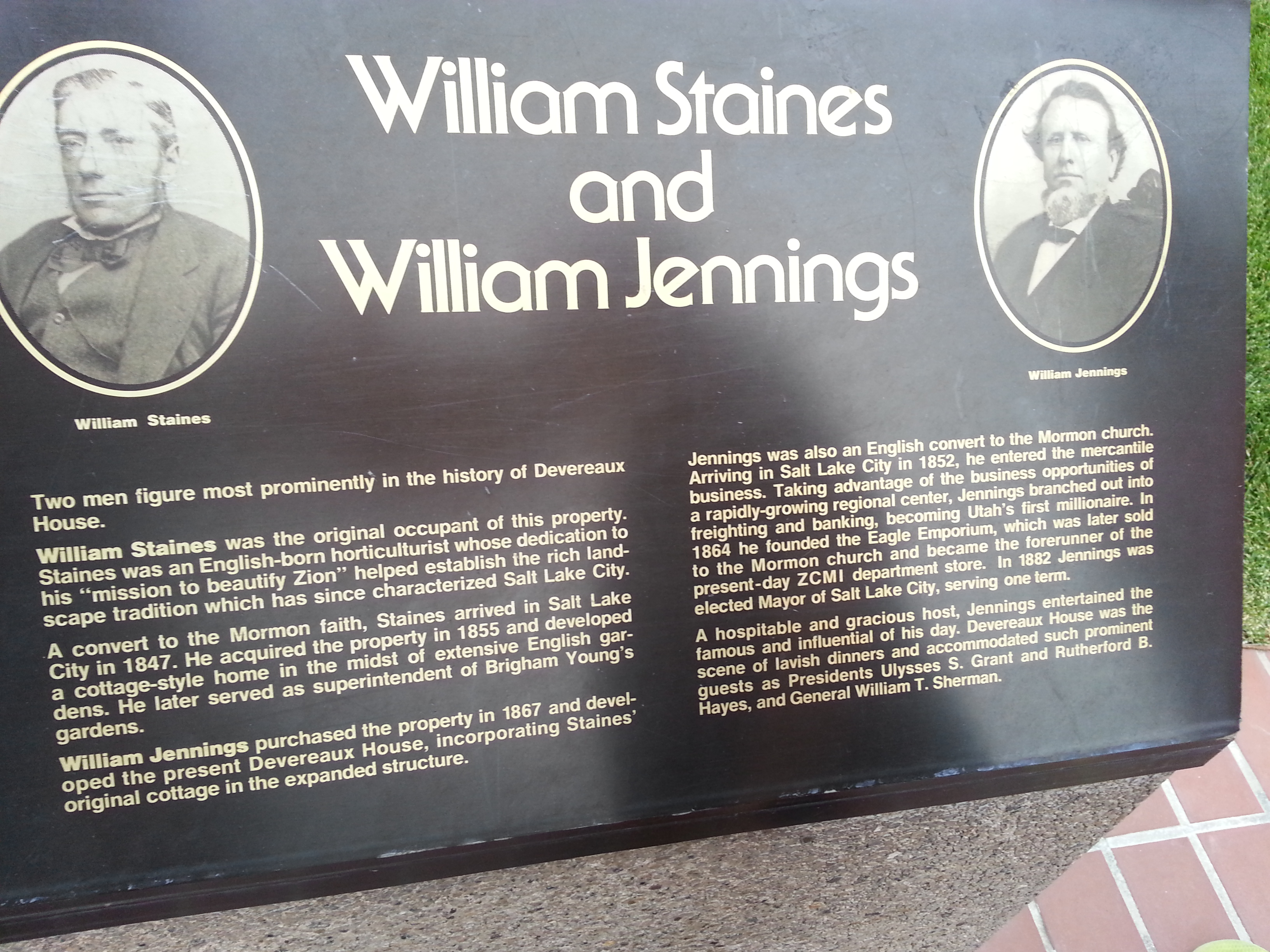 Plaque at Devereaux House with photo of Staines and Jennings