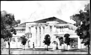 Original architectural rendering by Ware and Treganza architect group