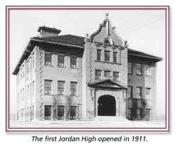"Photo of first permanent building to house Jordan HS/""People's College"". Circa 1911"