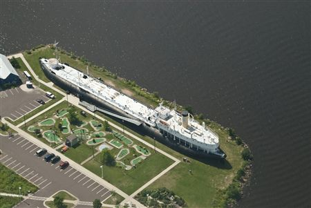 Aerial view of the ship