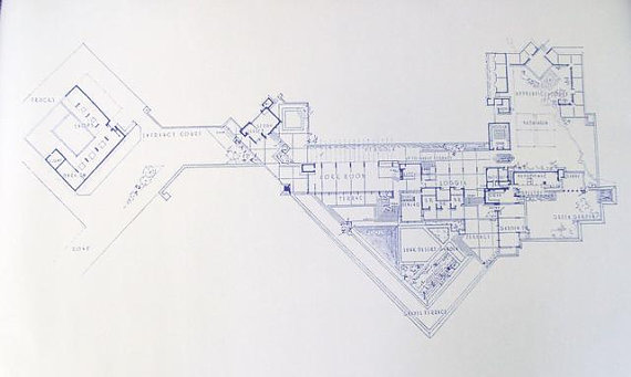 Blueprint of Taliesin West by Wright.