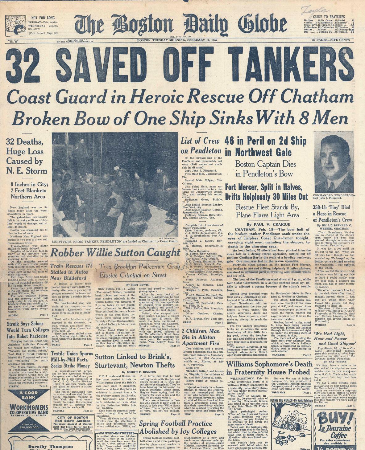 Pendleton rescue newspaper headline