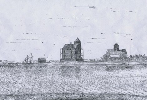 A sketch of the lighthouse as it appeared in the 1800s