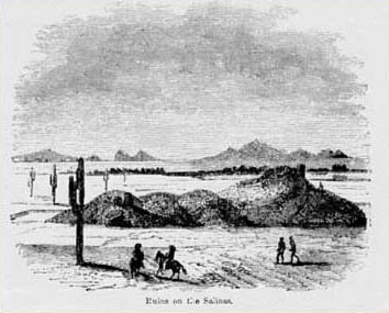 Woodcut illustration of Mesa Grande by Bartlett in the 1850s and published in his report, Ruins on the Salinas.  The Salt (Salinas) River is marked by the line of trees in the middle distance.