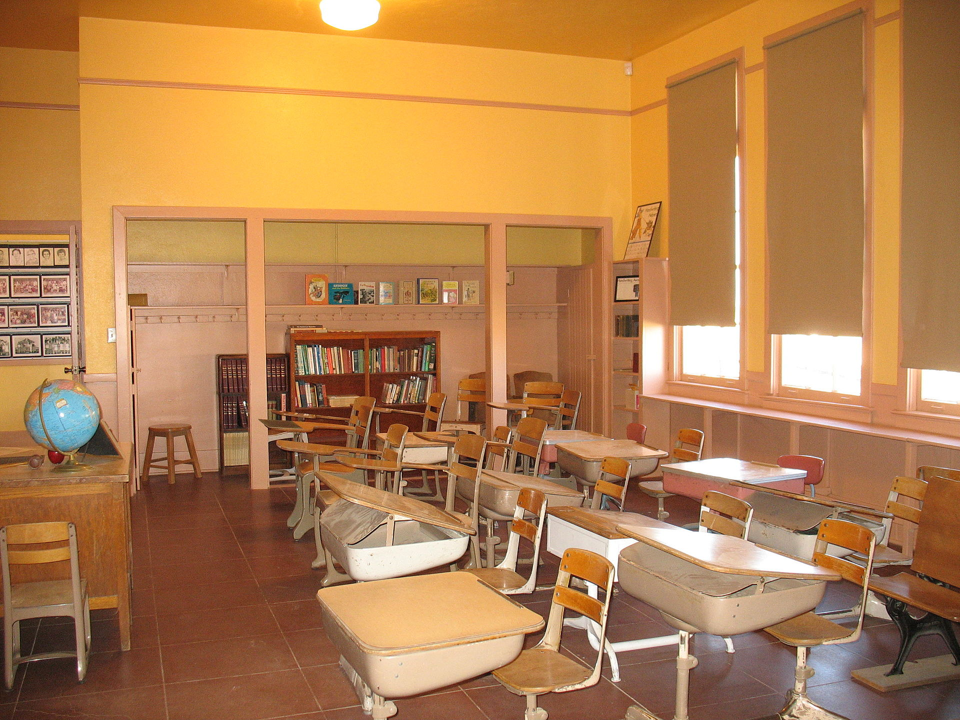 Interior of building. Replication of what a classroom would have looked in during Rittenhouse's early years