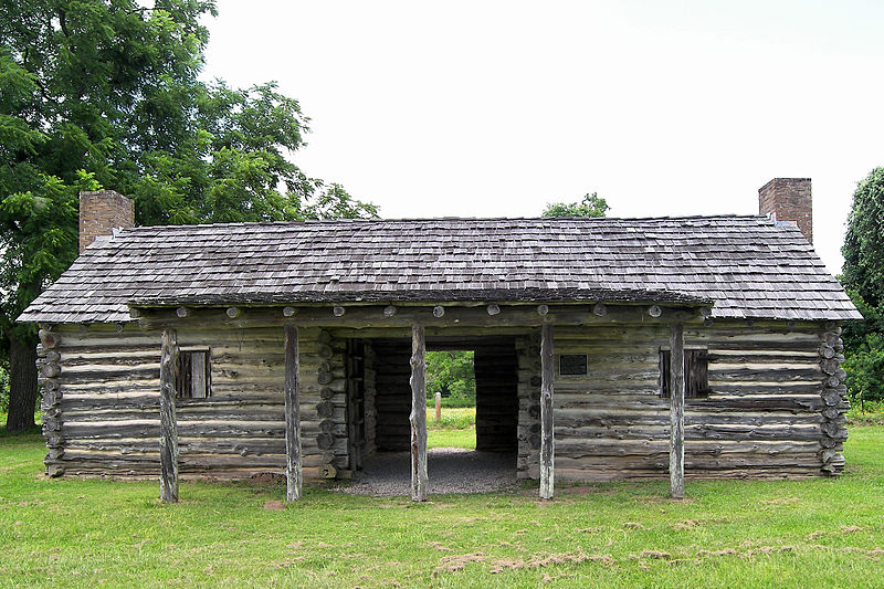 The site includes this replica of Stephen F. Austin's cabin