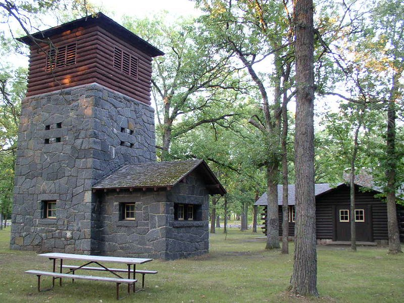 The water tower, one of the WPA's building in the park.