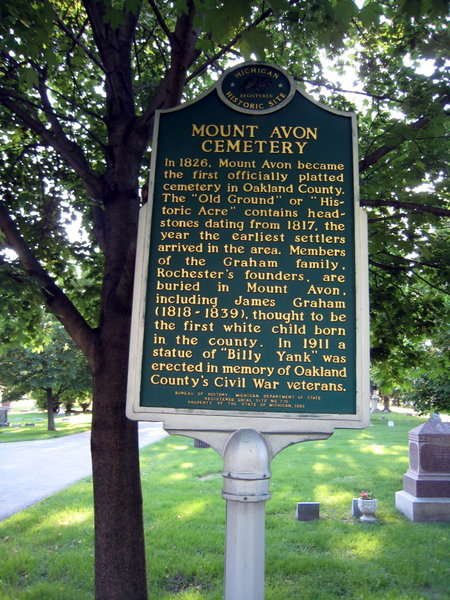 Michigan Historical Marker at Mount Avon Cemetery, Rochester, Michigan