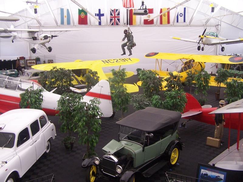 Various aircraft and vehicles on display