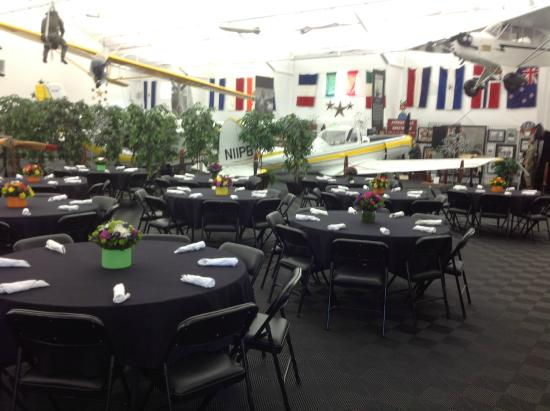 Museum set-up for an upcoming luncheon