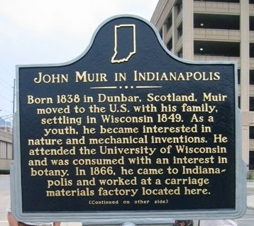 John Muir in Indianapolis Historical Marker