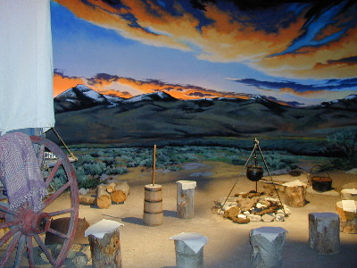 "The Center's ""Travelin' West"" Interperative Exhibit include authentic indoor sets and reenactors-an experience that allows visitors to feel as though they are crossing the Plains in the 1850s."